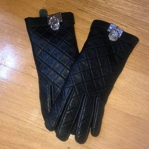 Black Leather Gloves | Michael Kors | Size M
